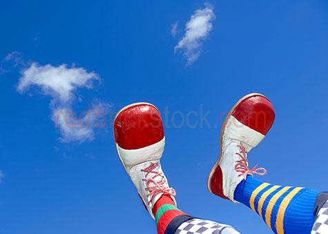 clown feet sky blue shoes colourful circus jester fete carnival