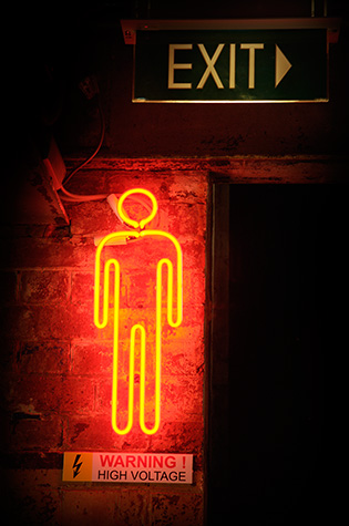 neon light;neon lights;neon sign;neon signage;red light;red lights;high voltage sign;signage;gents sign;exit sign;exit signs;conceptual