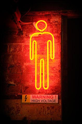 neon light;neon lights;neon sign;neon signage;high voltage sign;signage;gents sign;conceptual