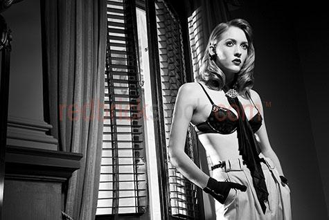 black and white;b&w;fashion;beautiful woman;vintage style;beautiful woman;blonde woman;person;window;topless;bra;lingerie;looking away from camera;1930's;young woman