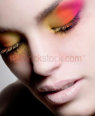 woman with make up on;woman with closed eyes;woman with beautiful complexion;perfect skin;flawless;beauty;close up;close-up;closeup;elaborate eye makeup;cosmetics;cosmetic;skincare;skin care
