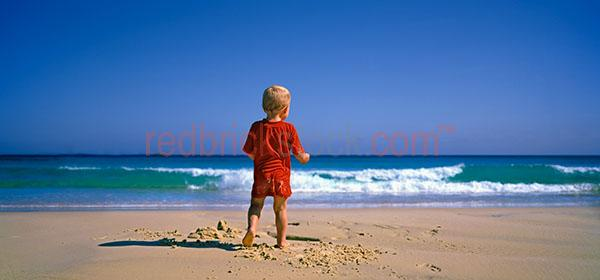 small boy at on beach panorama child children ocean water swimmi