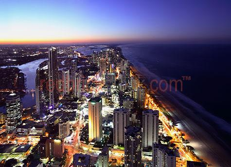gold coast;goldcoast;surfers paradise;city;cities;queensland;qld;beach;coastal city;building;buildings;twilight;dusk;high rise buildings;skyline;highrise