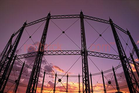Gasometer storage measure gas industrial wire wires steel sunset