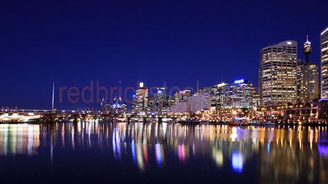 darling harbour sydney;capital city;capital cities;new south wales;nsw;sydney;water;sydney city;buildings;building;night;dusk;twilight;sydney at night;centrepoint tower;centre point tower;bay;cityscape;cityscapes;port;ports;harbor;habors;city lights;city light