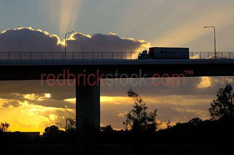 gateway bridges bridges brisbane sunrise sunset road trucks truc