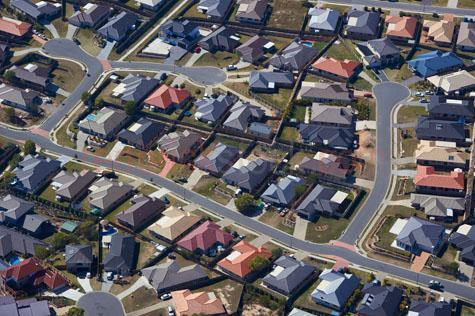 housing;suburb;suburbia;street;streetscape;streetscapes;street scape;street scapes;aerial;aerials;aerial view;aerial views;suburbs;suburb;suburban;estate;estates;housing estates;tiled roof;roofs;brick house;houses;new;swimming pool;pools;col de sac;coldesac;back yard;yards;house blocks;brisbane;west brisbane;springfield;australia;australian;metro;metropolitan;high view of houses;looking down on;from above