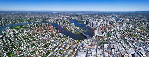 brisbane city river aerial suburbs high height view pano panoram