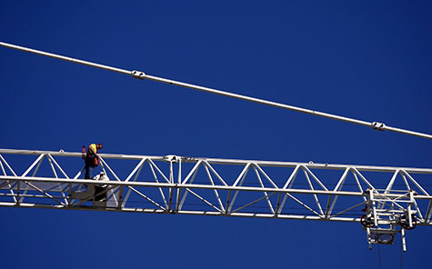 construction;consruct;constructing;constructs;crane;cranes;tower crane;tower cranes;jib;jibs;building site;buidling sites;worksite;worksites;work site;work sites;worker;workers;labourer;labourers;laborer;laborers;safety;harness;harnesses;height;heights;equipment;machinery;machine;machines;heavy machinery;industrial;blue sky;blue skies;clear sky;clear skies
