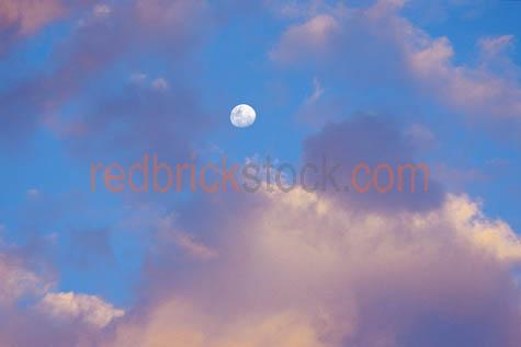 clouds;cloud;half;3/4;three;quarter;moon;blue;sky;pink;