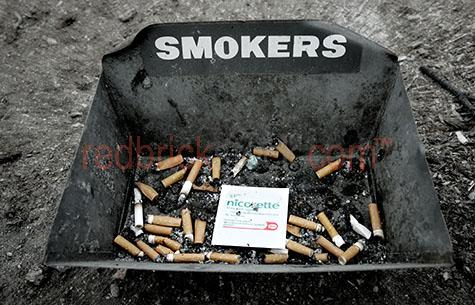 cigarette;cigarettes;smoke;smoking;quit;quit smoking;butts;ash;ashtray;tray;bin;gravel;dirty;nicorette;patch;smokers;addict;addictive