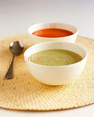soup;soups;starter;starters;entree;entrees;vegetable soup;vegetable soups;tomato soup;tomato soups;potato and watercress soup;two bowls;two soups;bowl;bowls;lunch;lunches;dinner;dinners;supper;suppers;snack;snacks;plated food;plate;plates;prepared dish;prepared dishes;meal;meals;dish;dishes;restaurant;restaurants;dine;dining;dining out;cafe;cafes;spoon;spoons;cutlery