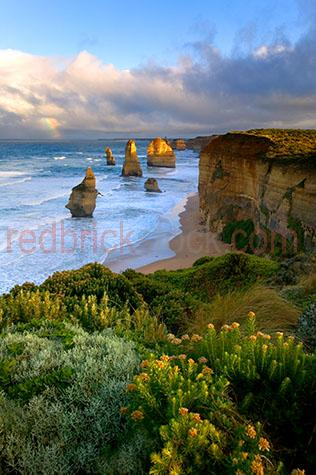 the twelve apostles;victoria;vic;beach;beaches;coastline;coastal;coasts;coast;marine;ocean;oceans;landscape;national park;scenic;great ocean road;roads;sea;seas;cliff;cliffs;clifface;cliff face;protected areas;water;port campbell national park;seascape;shrubland;iconic;australian icon;australian landmark;australian landmarks;icons;australian icons;rock formation;rock formations;rocks;rock;australian landscape;australian landscapes