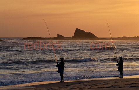 fish;fishing;silhouette;silouettes;silhouetted;beach;ocean;shore;shoreline;two people;reel;reels;rod;rods;lines;line;sand;beaches