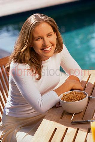 young woman swimming by pool cereal cereals girl health healthy
