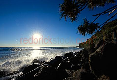 burleigh heads;gold coast;wave;waves;beach;coastal;beaches;rocks;rock;water;ocean;sea;sun;pandanus;tree;crashing waves;morning