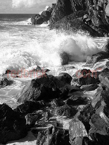 wave;waves;beach;beaches;ocean;sea;water;coast;coastline;crash;crashing;black and white;black & white;b&w;rock;rocks