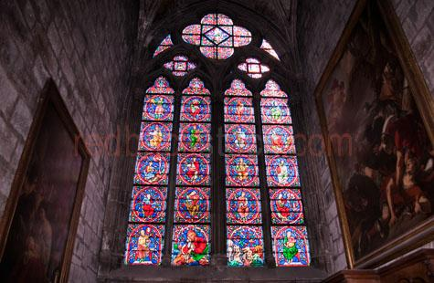 stained glass;stained glass window;stained glass windows;window;windows;notre dame de paris;notre dame;paris;france;french;cathedral;church;gothic;gothic architecture;medieval;medieval architecture;medieval art;art;arts;design;designs;interior;interiors;building;buildings;architecture;architectures;religion;religious;religious scenes;bible;biblical;biblical scenes;christian;christianity;catholic;roman catholic;catholicism;sacred