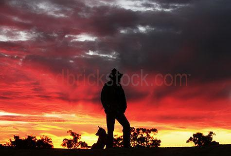 sunset;sunsets;sun set;sun sets;sunrise;sunrises;sun rise;sun rises;outback;out back;rural;australia;australian;farm;farms;farming;farmer;farmers;dog;dogs;canine;canines;cattle dog;cattle dogs;worker dog;working dog;worker dogs;working dogs;pet;pets;man and his dog;men and their dogs;silhouette;silhouettes;silhouetted;sky;skies;moody sky;moody skies;dramatic sky;dramatic skies;storm cloud;storm clouds;cumulus cloud;cumulus clouds;grey cloud;grey clouds;gray cloud;gray clouds;hat;hats;wearing a hat;wearing hats;tree;trees;one man;man;men;guy;guys;person;one person;single figure