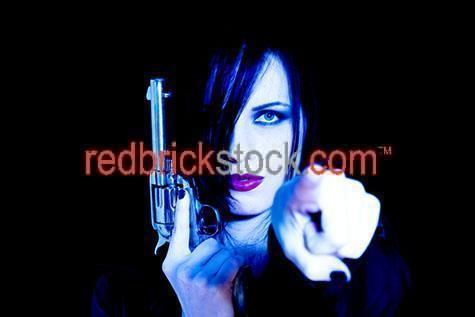 gun;guns;pistol;pistols;glock;glocks;austrian;weapon;weapons;lethal;finger;fingers;pointed finger;pointed fingers;trigger;triggers;violent;violence;point;points;gang;gangs;shoot;shoots;shooting;shot;shots;gunfire;troubled;barrel;gun violence;adolescent;teen;young adult;young adults;woman with gun;women with guns;women;woman;lady;ladies;girl;girls;pointing;looking at camera;one person;one woman;one girl;one lady;black background;black backgrounds;on black;power;strong;villain;villains;revolver;revolvers;goth;gothic;gothic woman;gothic women;gothic lady;gothic ladies;cacasian;20-25 years;20 to 25 years;20-25 yrs;20 to 25 yrs;young adult;mid 20s;mid 20Õs mid twenties;25-30 years;25 to 30 years;25-30 yrs;25 to 30 yrs