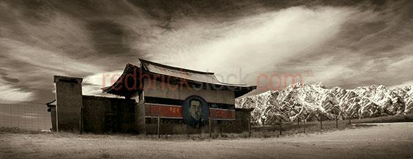 building;buildings;asian;asian;mountainous landscape;mountains;mountain;black and white;b&w;black & white;hand colour;hand coloured;fence;fences;mood;moody;moody sky;snow capped mountains;snow capped mountain;snow;abandoned;abandoned house;abandoned building;abandoned buildings