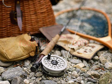 fishing;fish;road;reel;fly fishing;net;equipment;tools;tackle;basket;rocks;rock;pebble;pebbles