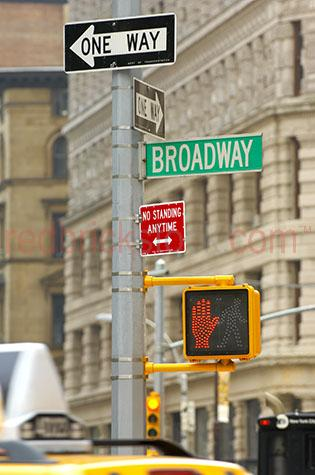 new york city;nyc;traffic;road;roads;taxi;taxis;cab;pedestrian crossing;america;american city;travel;travelling;transport;transportation;broadway;signs;signage;new york street signs;no standing anytime;street;streets