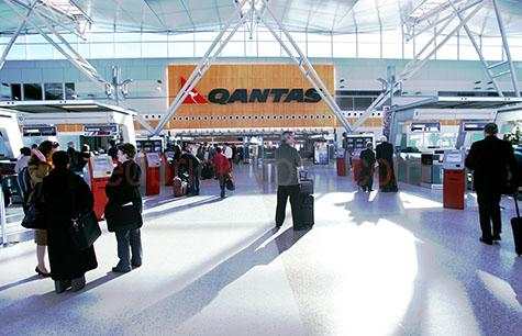 airport;airports;passenger;passengers;luggage;baggage;bag;bags;flight;flights;qantas;airline;airliners;commercial airline;commercial airlines;check in;check-in;arrival;arrivals;departure;departures;terminal;terminals;self serve;self-serve;self service;self-service;concourse;flyer;flyers;traveller;traveler;travellers;travelers;frequent flyer;frequent flyers;people;touch screen;touch screens;ticket;tickets;sydney airport;kingsford smith airport;sydney;new south wales;nsw;australia;australian;sun;sunny;sunlight;sunshine;indoors;airport security